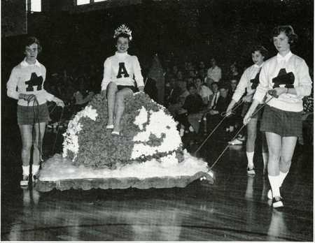 Student on Homecoming Float, 1955