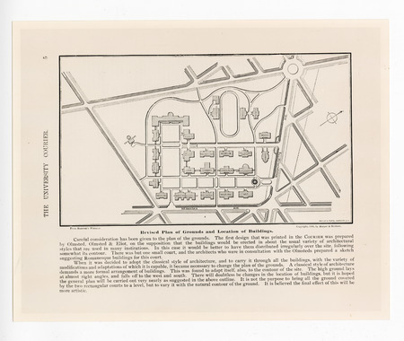 Revised plan of grounds and location of buildings fromThe Courier, 1896