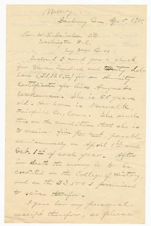 Samuel Beiler Letter to Rev Davidson Apr 5 1900 Side 1_019.jpg
