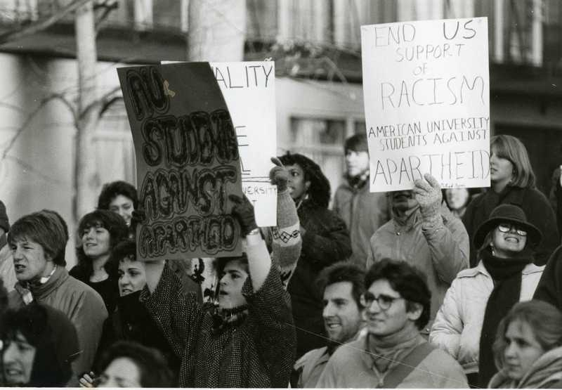 AU Students Against Apartheid at South African Embassy 1984-1985