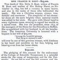 """""""Mrs. Francis H. Root - $25,000,"""" The Courier, December 1895"""