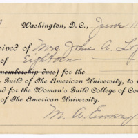 Receipt for $18 donated to the Women's Guild by Mrs. John A. Logan, 11 June 1901