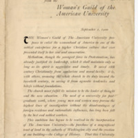 An open letter from the Woman's Guild of the American University, 01 September 1900