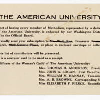 Woman's Guild College of Comparative Religion donation request, undated