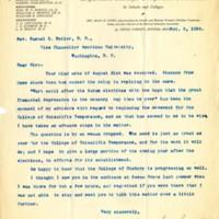 Letter from Mary H. Hunt to Samuel L. Beiler  5 October 1896
