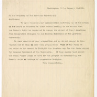 Letter to the Trustees of the American University from the Woman's Guild, 12 January 1901