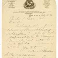Letter to Charles W. Baldwin from Anna Adams Gordon, 18 July 1892