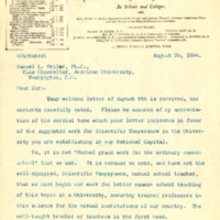 Letter from Mary H. H. Hunt to Samuel L. Beiler 20 August 1894